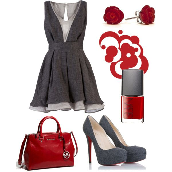gray with red: Date Night Outfit, Outfit Ideas, Color Combos, Day Outfit, Funny Quotes, Cute Outfit, The Dresses, Grey Dresses, My Style