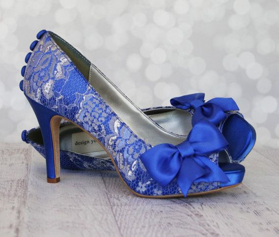 Dress up your walk down the aisle with these lovely lace platform peep toe custom wedding shoes. These shoes may be ordered as shown, or