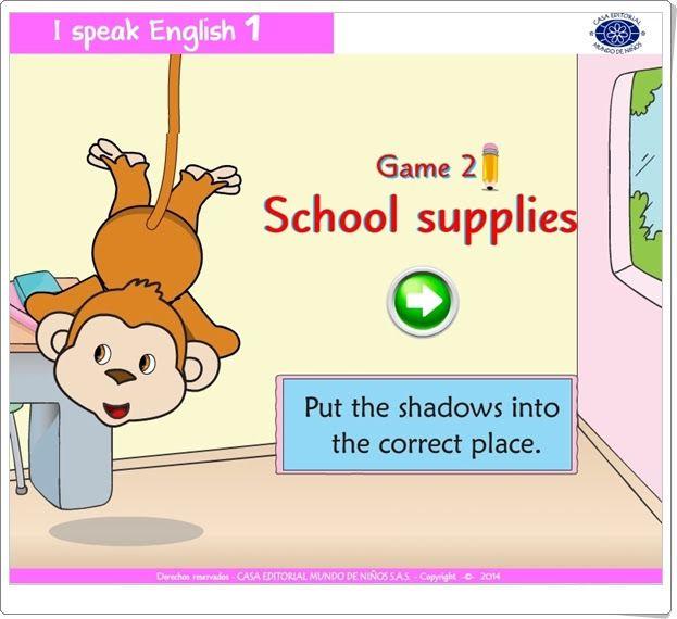 I speak English 1 (School supplies)