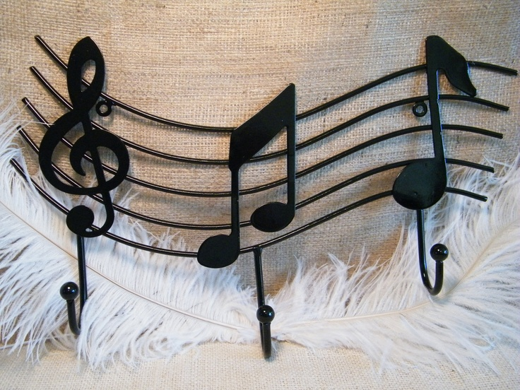 Black Wall Hook Treble Clef And Music Notes Coat Rack