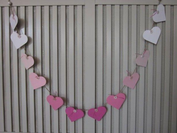 On sale : Papieren harten slinger in ombre roze gemaakt op natuurlijk touw --- Babykamer slinger of bruiloft slingers