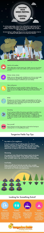 Music Festival Survival Guide - Infographic - Tangerine Fields https://www.tangerinefields.co.uk #festival #musicfestival #crowd #camping #glastonbury #iow