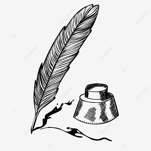 Black Cartoon Feather Pen Hand Drawn Illustration Feather Clipart Handwriting Cartoon Png And Vector With Transparent Background For Free Download Feather Pen Feather Illustration Drawing Illustration