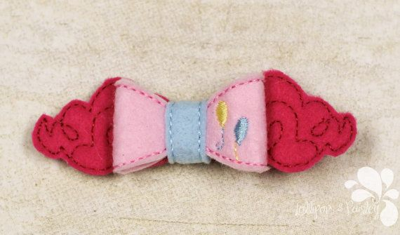 Pinkie Horse Bow Cartoon 3D Felt Pony Inspired Little Pie Clip Big OTT Geek Bait…