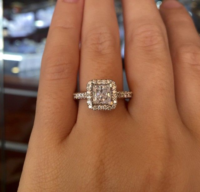 Verragio princess cut halo engagement ring