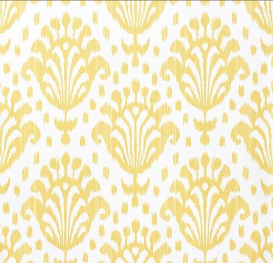 Yellow Ikat pattern on white wallpaper