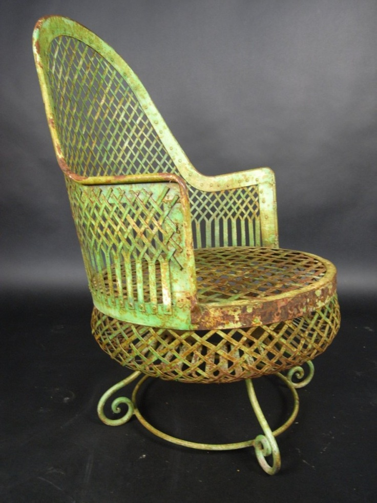 Painted iron conservatory chair with sprung seat
