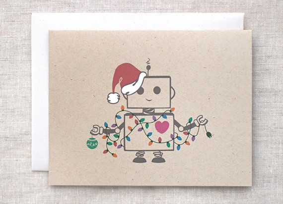 Christmas Card, Funny Robot Santa Holiday Card - Hand Painted, Ecofriendly, Recycled Brown