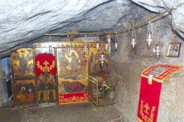 The holly cave where John wrote the Book of Revelation( Apolalypsis Ioannou). Patmos Greece