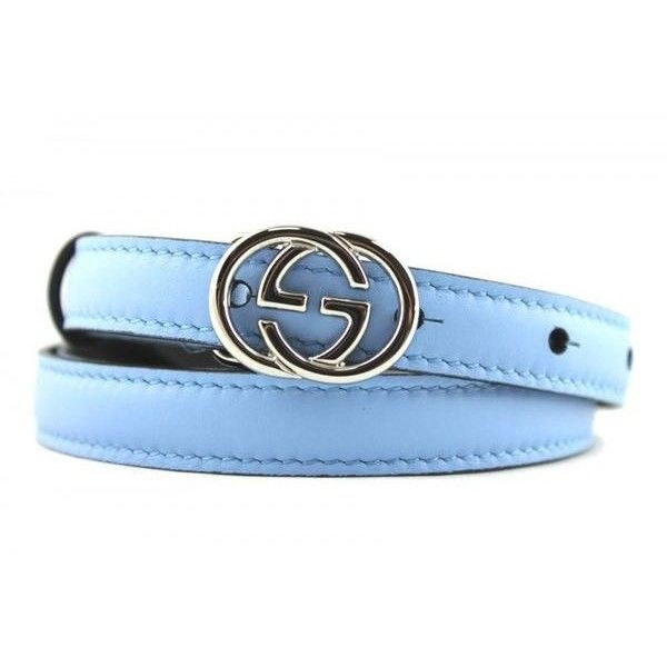 Pre-Owned Nwt Gucci Skinny Blue Leather Belt With Interlocking G... ($225) ❤ liked on Polyvore featuring accessories, belts, blue, gucci, gucci belt, blue belt and buckle belt