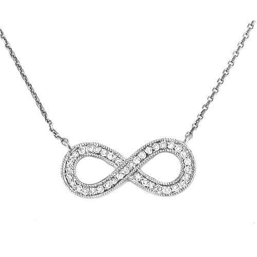"14K 0.15CTW Diamond Infinity Necklace 18"" Rose Gold / White Gold Mother's Day @ $355.00"