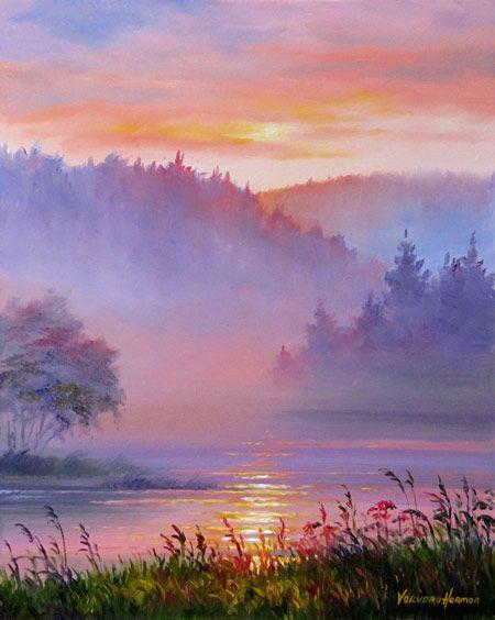 Mist on the River, 2010. Oil on gesso board. Varvara Harmon