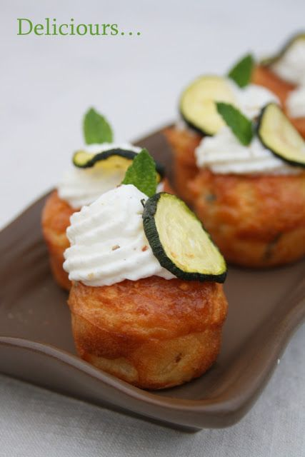 Mini Cupcakes with Mozzarella, Mint, Zucchini, and Goat Cheese