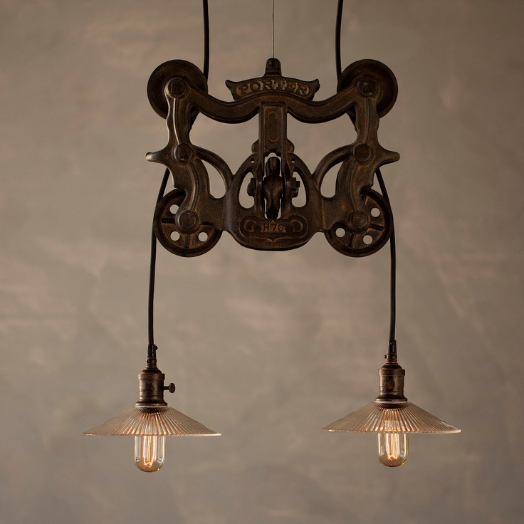 vintage industrial style pulley lamps let there be light pinterest industriell steampunk. Black Bedroom Furniture Sets. Home Design Ideas