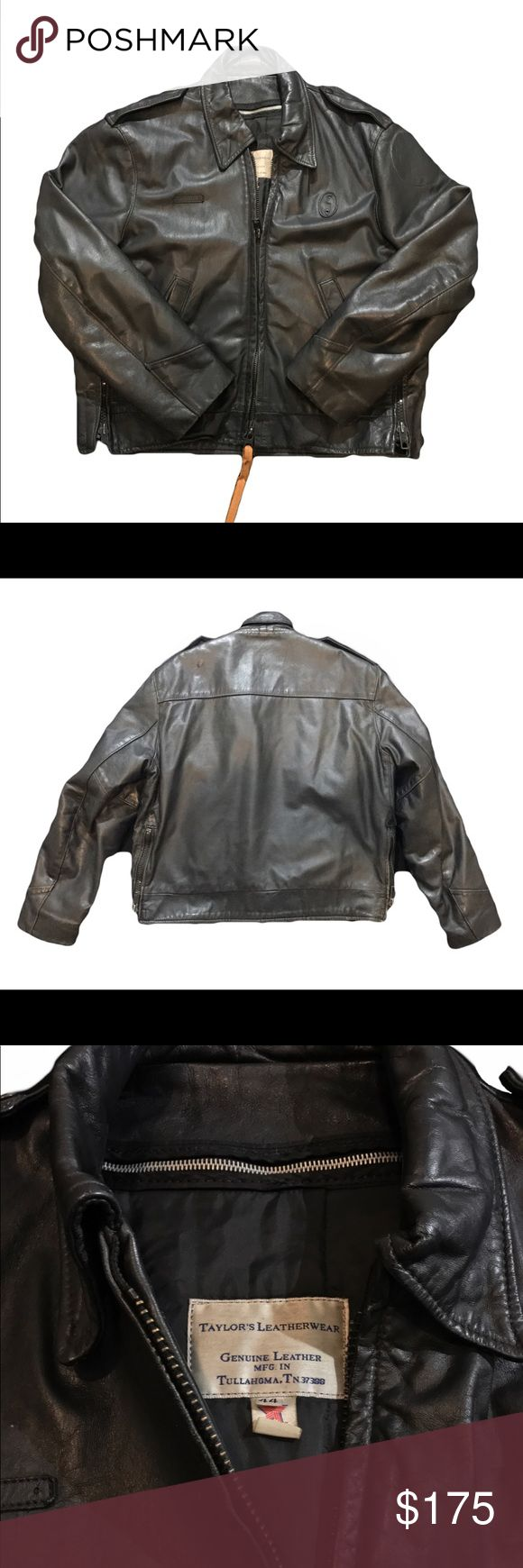 """Vintage """"Taylor's Leatherwear"""" police jacket This is a vintage genuine leather jacket handmade by Taylor Leatherwear in Tullahoma, TN. The company is now located in Nashville. It was made for motorcycle police and measures size 44. Still has places for badges and patches on sleeves. Great piece of vintage clothing for a great price! Vintage Jackets & Coats"""