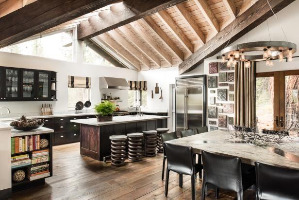 Rustic Open Plan Kitchen With Exposed Beams | HGTV >> http://www.hgtv.com/design-blog/design/meet-hgtv-faces-of-design-editors--pick-winners?soc=pinterest