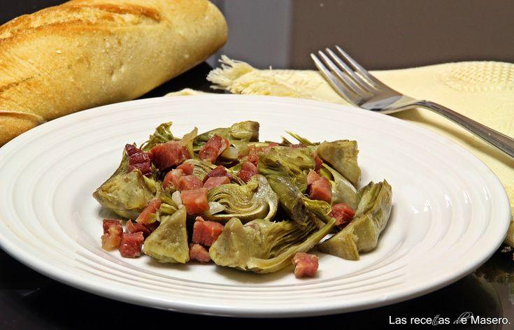 Las recetas de Masero.: Alcachofas con jamón (microondas).