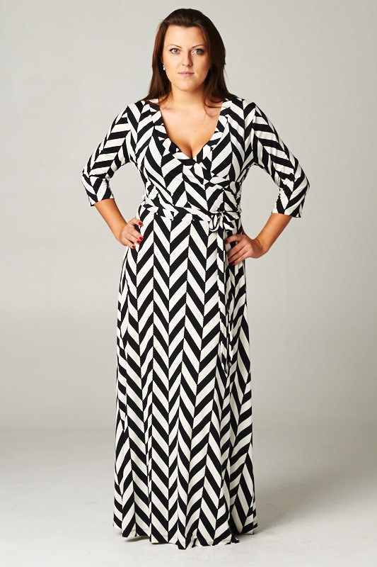 Beautiful Black And White Chevron Maxi Dress Plus Size Images ...