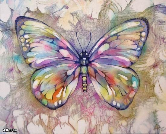 Бабочки. Диптих. Горячий батик. 20 х 25 см.