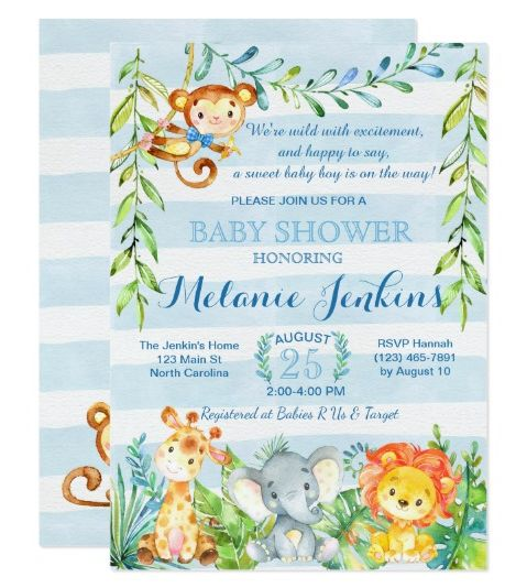 Shop Boy Baby Shower Invitation, Jungle Baby Shower Card Created By  YourMainEvent.