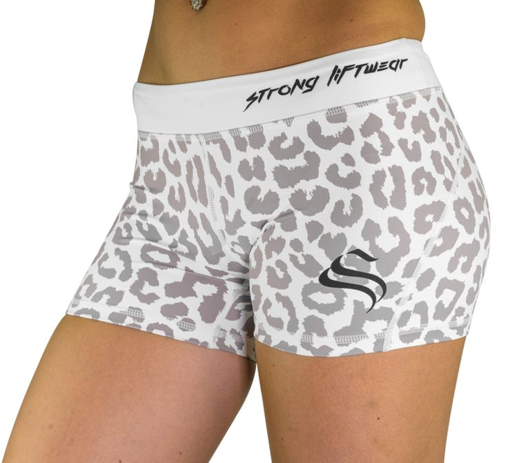 Womens Booty Shorts - Leopard - White - Strong Liftwear