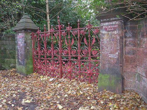 Strawberry Field. Liverpool England.   Let me take you down cuz I'm going to Strawberry Field....  Nothing is real and nothing to hang out about.... Strawberry Field Forever  The Beatles song lyric - Strawberry Field Forever