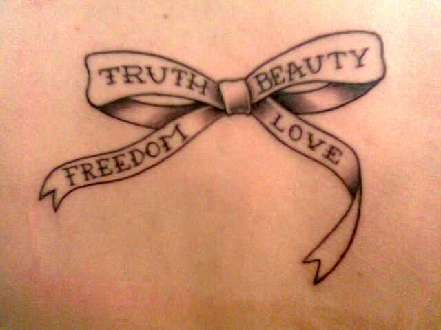 Truth, Beauty, Freedom, Love | Bow Tattoo