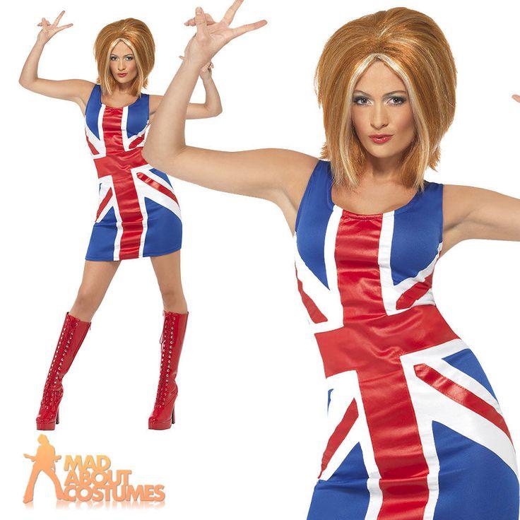 Ginger Spice Girls 90s Union Jack Dress Ladies Womens Fancy Dress Costume 4-18
