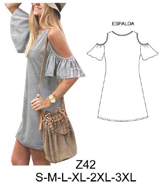 Z42 Vestido mini, con manga y abertura en hombro. Largo: 85 cms. Aprox. Telas: Jersey lycra. Consumo talla L: 1.40 Mts. Aprox.