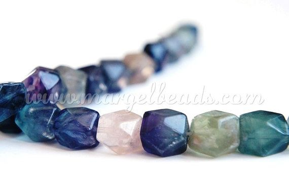 1 strand Faceted Rectangle Fluorite 10-12mm