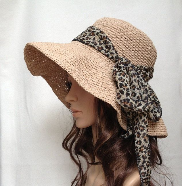 PDF pattern-crocheted hat no. H450B, rayon raffia hat, straw hat, sun hat, cotton hat. $4.50, via Etsy.