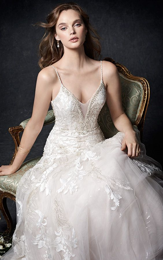 Kenneth Winston Couture 1758 | stunning lace fit and flare gown | deep illusion sweetheart neckline | low back | spaghetti straps |  mermiad | romantic wedding gown