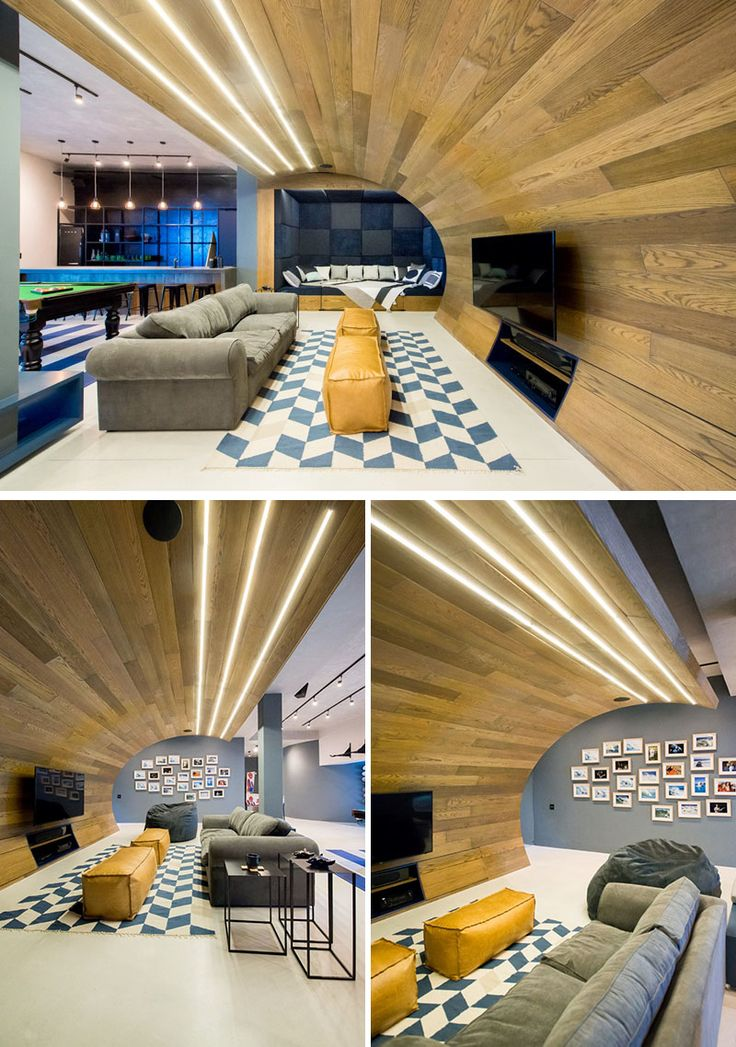 this basement designed for a teenager features a wooden wave a bar