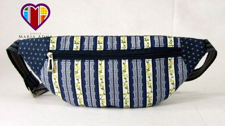 Bolsa tipo pochete de tecido passo a passo. Fabric money belt tutorial.
