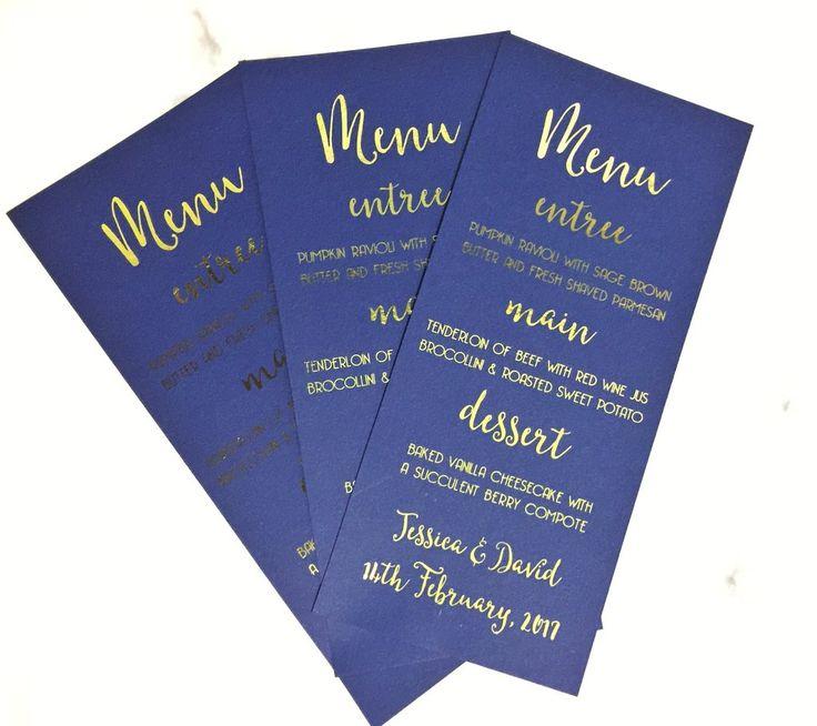 Blue & Gold Wedding Menu Cards