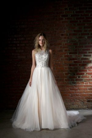 Illusion Princess/Ball Gown Wedding Dress  with Natural Waist in Tulle. Bridal Gown Style Number:33164419