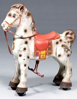 toys, England, Mobo Bronco pedal horse, painted metal horse on wheels, steering and walking action, original decal on front, English, 20th century.
