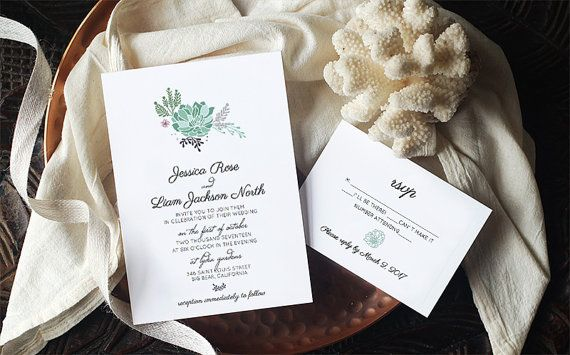 Printable Succulent Wedding Invitation Template  by AlchemiePress