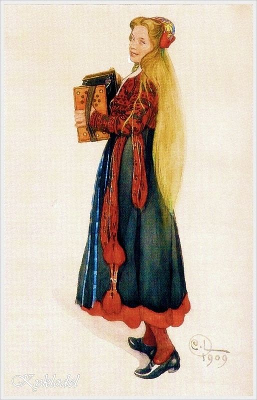 1909 год. Carl Larsson (Swedish, 1853 – 1919) «Lisbeth playing the Accordion»