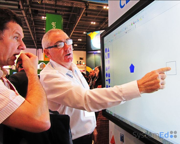 Mike being taught about #Clevertouch screens @ the #BettShow2015