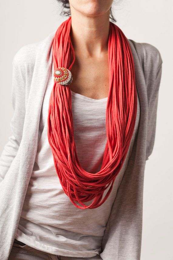 Coral upcycled fabric necklace scarf