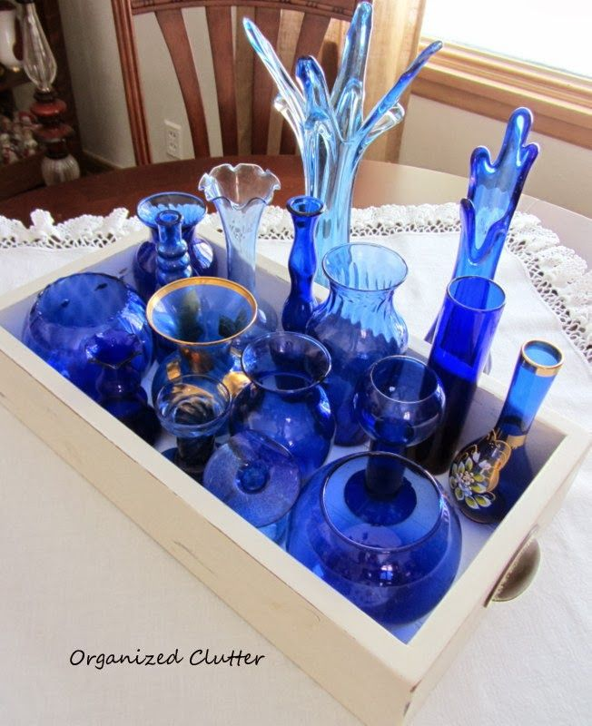 Collecting Cobalt Blue Vases www.organizedclutterqueen.blogspot.com