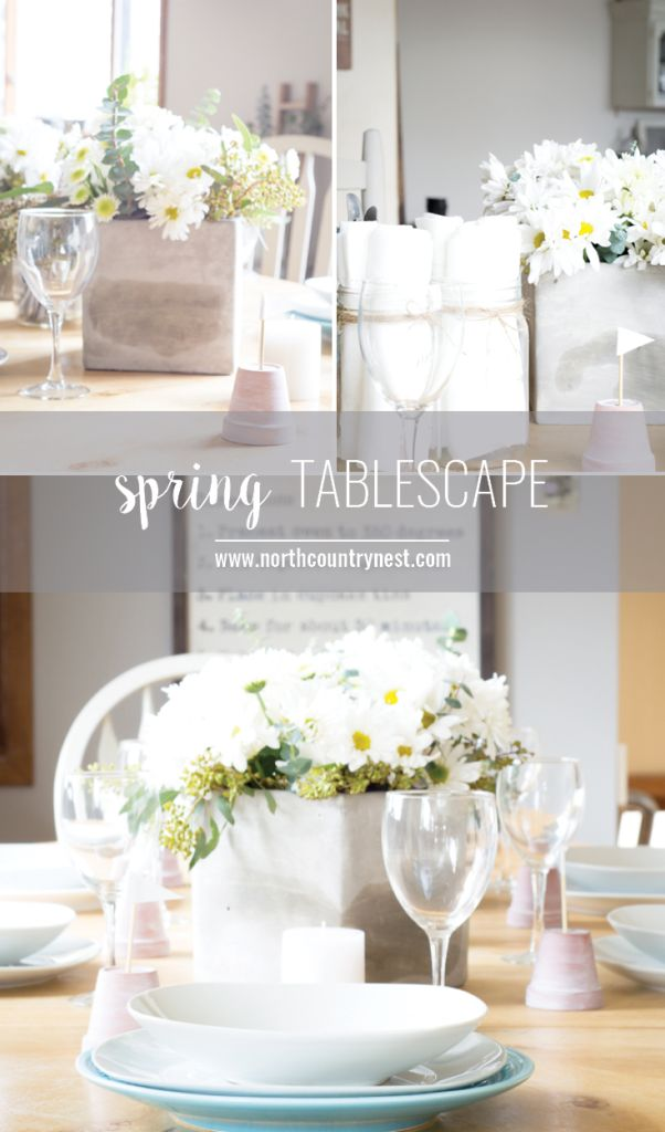 Spring Tablescape with daisies and white accents.