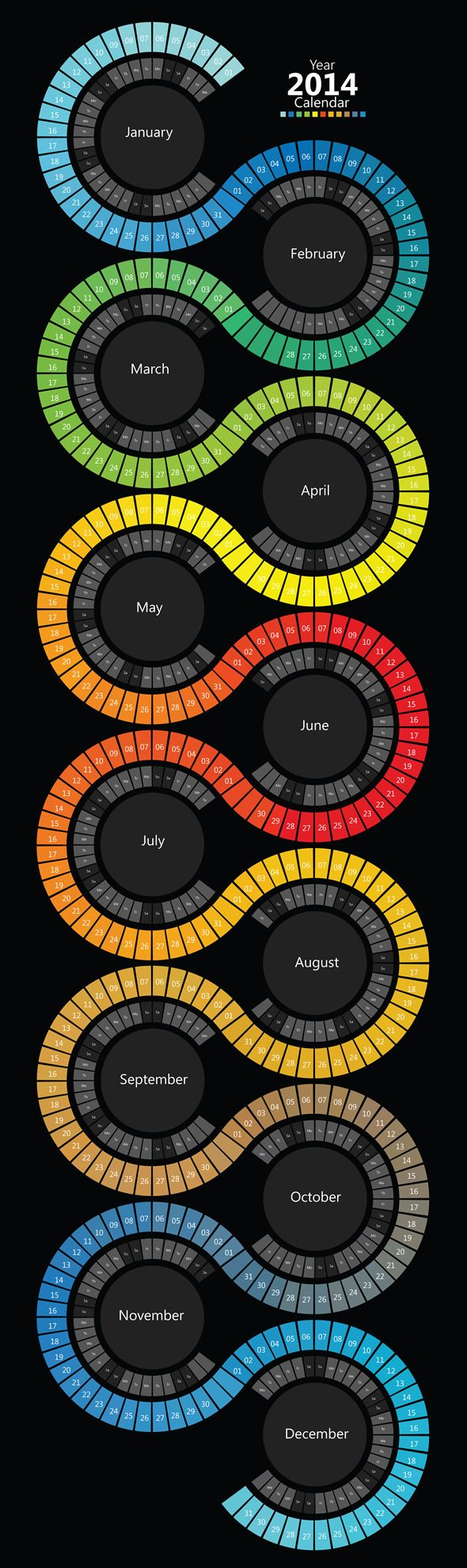 2014 Spectrum Swirl Calendar, long in length, every month is colored according to the weather and in spectrum color