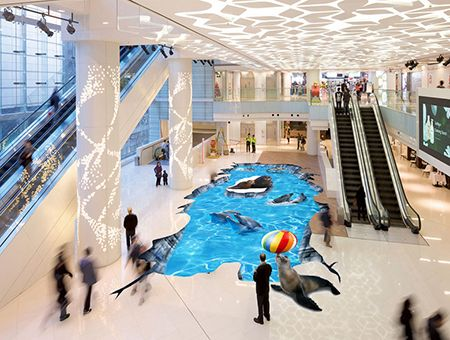 Design 3D animation événementielle Revêtement de sol trompe l'œil trou au sol centre commercial - Les dauphins et les phoques