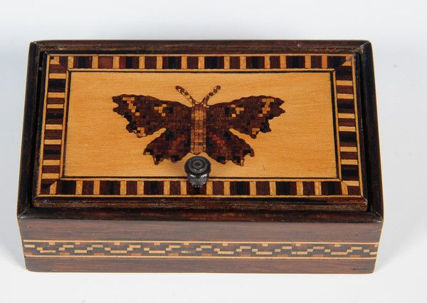 Pretty little Tunbridge Ware box with butterfly design. Just perfect for a spring time gift! http://www.edenbridgegalleries.com/antiques/d/tunbridge-ware-box/186035