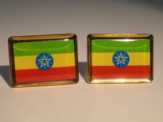 Ethiopian Flag Cufflinks by LoudCufflinks on Etsy