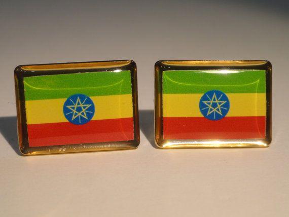 Ethiopian Flag Cufflinks by LoudCufflinks on Etsy