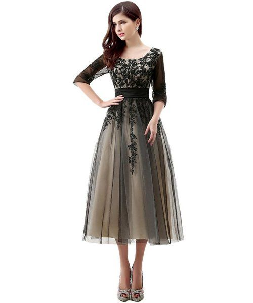elegant black lace mother of bride dress with sleeves 2015 by Engerla
