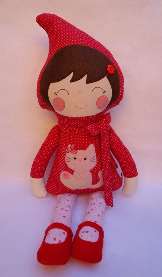 Little Red Riding Hood, Little Red Riding Hood doll, doll fairy tales, doll with red clothing, rag doll, cute doll, dolls handmade, red doll